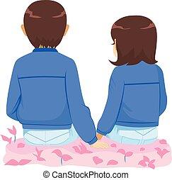 pareja, juntos, sentado