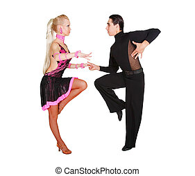 pareja, latino, encima, bailando, blanco