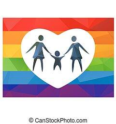 pareja, lesbiana, niño