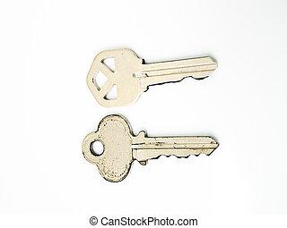pareja, llaves, aislado, blanco, plano de fondo