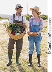 pareja, lleno, vegetabl, longitud