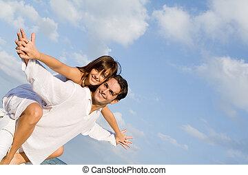 pareja, luna de miel, vacaciones, a cuestas, diversión,...