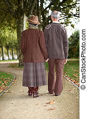 pareja madura, ambulante, tomados de la mano