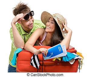 pareja, maleta, ropa, viaje, paquetes