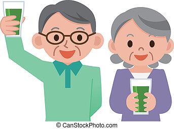 pareja mayor, bebida, vegetal, ju