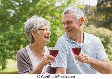 pareja mayor, brindar, gafas vino