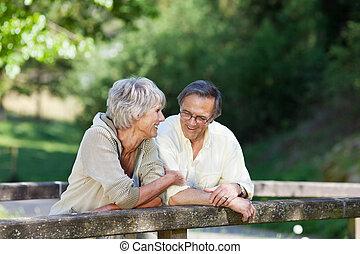 pareja mayor, el inclinarse en el pasamano, en, parque