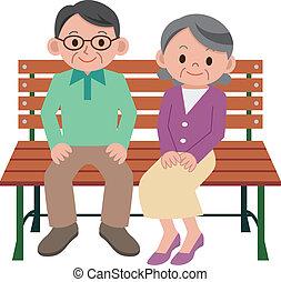 pareja mayor, feliz