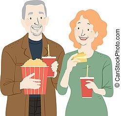 pareja mayor, película, ilustración