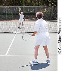 pareja mayor, tenis, -, juego