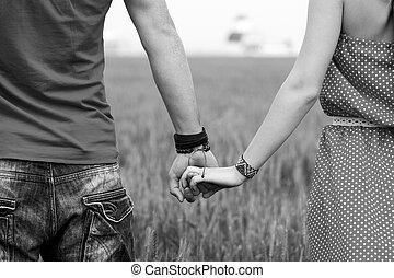 pareja, negro, blanco, manos de valor en cartera