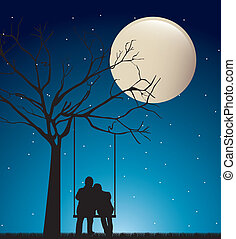 pareja, noche