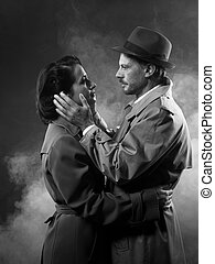 pareja, noir:, romántico, película, se abrazar