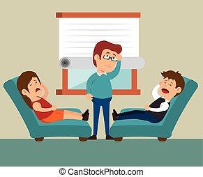 pareja, oficina, consulta, terapia
