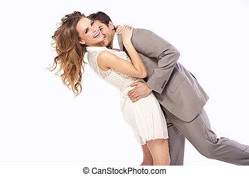 pareja, otro, encantado, abrazar, cada