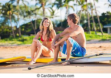 pareja, párese, remar, en, hawai