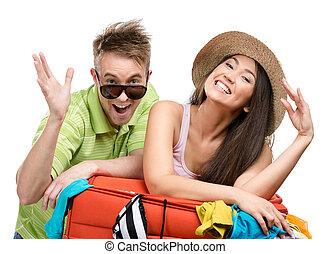 pareja, paquetes, arriba, maleta, con, ropa, para, viaje