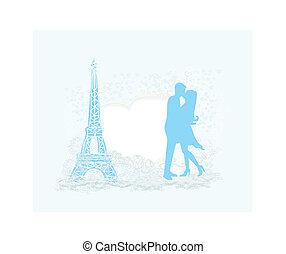 pareja, parís, retro, torre, tarjeta, besar, romántico, ...