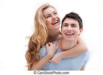 pareja, pareja., juntos, alegre, diversión, sonriente,...