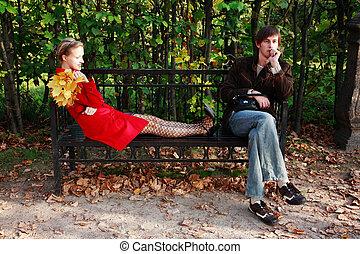 pareja, parque