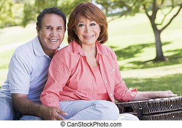 pareja, picnic, sonriente, manos de valor en cartera