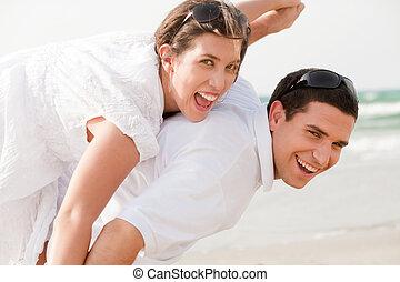 pareja, piggybacking, amor