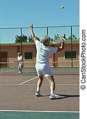 pareja, pista de tenis
