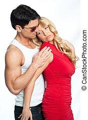 pareja, pose., sexy, íntimo