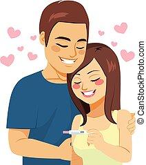 pareja, prueba, feliz