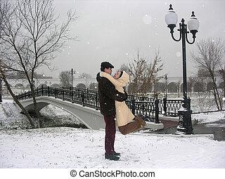 pareja, reunión, navidad