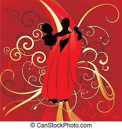 pareja, rojo, fondo, bailando