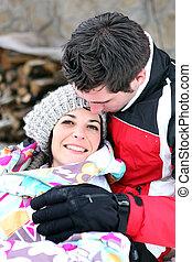 pareja, romántico, nieve