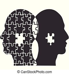pareja, rompecabezas, gente, cabeza, plano de fondo