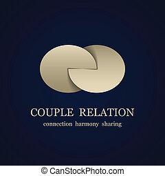 pareja, símbolo, vector, relación, resumen