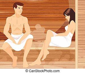 pareja, sauna
