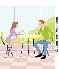 pareja, sentado, en, café