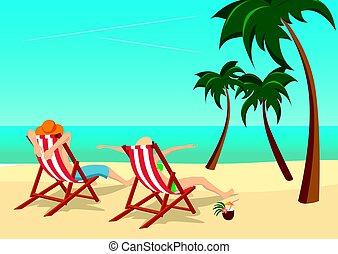 pareja, sentado, en, sillas de cubierta, en, playa, en, tropical, recurso