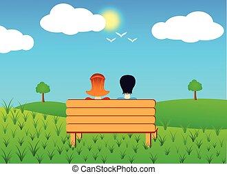 pareja, sentado, en, un, banco