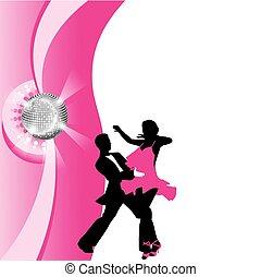 pareja, silueta, bailando