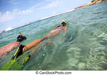 pareja, snorkeling, en, caribe, aguas