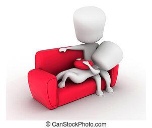 pareja, sofá