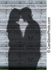 pareja, sombras, se abrazar