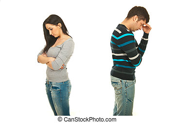 pareja, teniendo, conflicto, triste