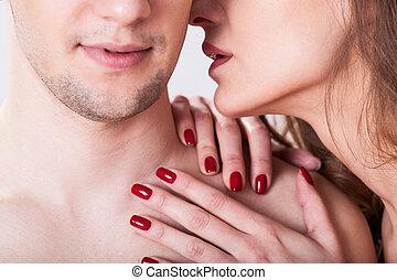 pareja, teniendo, erótico, momento