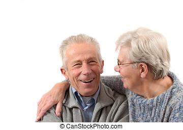 pareja, teniendo, risa, más viejo