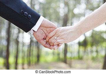 pareja, tomados de la mano, amor, concepto