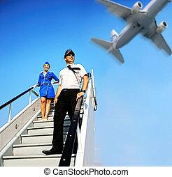 pareja, tripulación de pilotaje