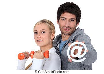 pareja, vía, gimnasio, unido, internet