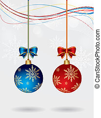 pareja, vector, pelota de navidad