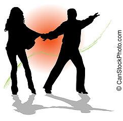 pareja, vector, tango, bailando